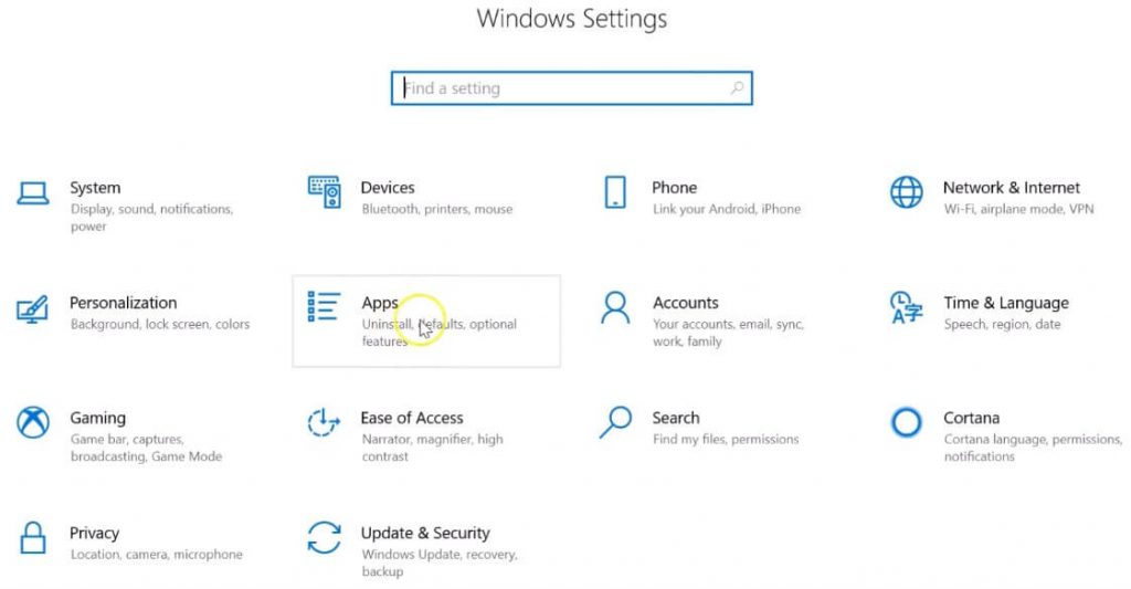 Open Apps Settings Windows 10