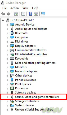 Device manager audio devices