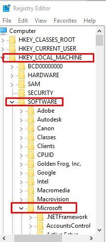 Open registry editer folders