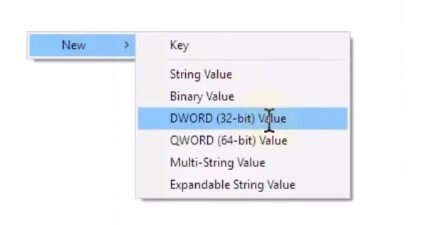 Create new DWORD 32-bit Value